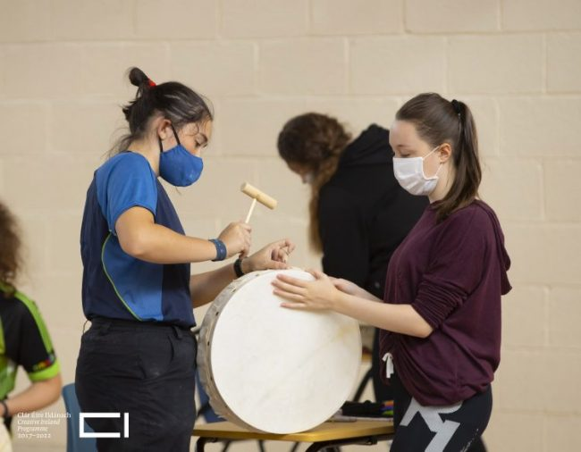 "Musician and craftsman Michael Vignoles teaching students how to make a Bodhrán at Our Lady of Mercy Secondary School in Waterford. Michael has been crafting Uilleann pipes and Bodhrán drums in his workshop in Claddagh, Galway for the past 25 years. Picture"" Patrick Browne"