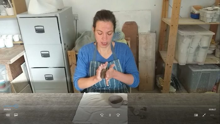 Waterford artist Adele Stanley making a saucer
