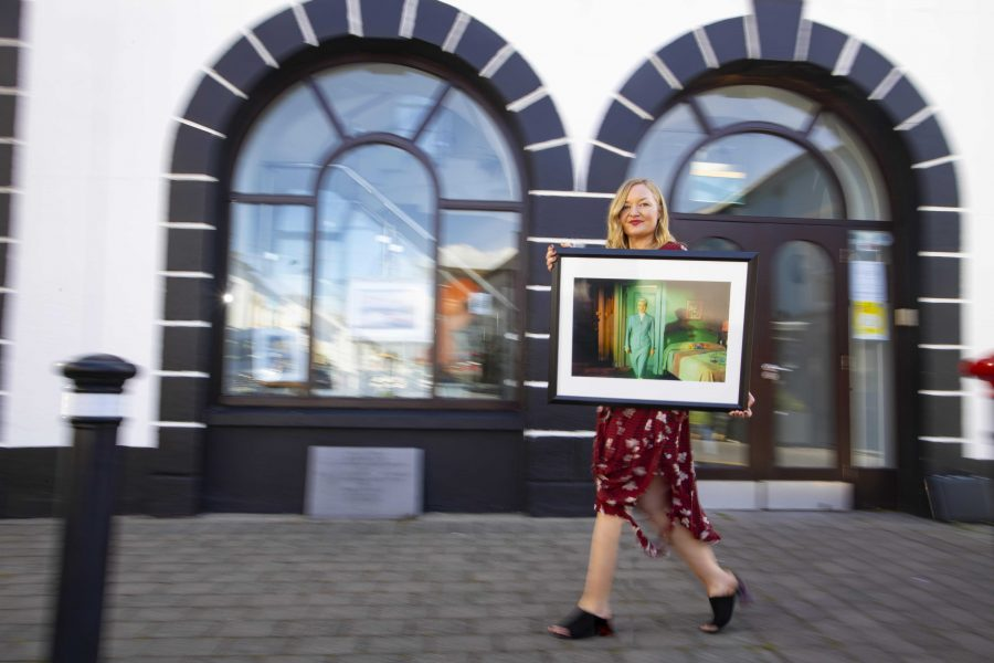 Artist Jean Curran at the launch of the Dungarvan Art Trail. Photograph by Patrick Browne.