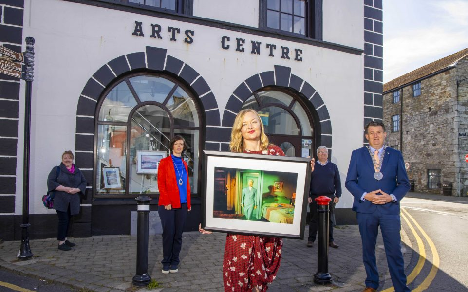 07/05/2020. FREE TO USE IMAGE. Artist Jean Curran launches the Dungarvan Art Trail, Dungarvan, Co. Waterford. Running from May through to September 2021, in various shop windows, the Arts Centre and Library throughout the coastal town. Dungarvan Art Trail is delighted to presentThe Vertigo Projectby internationally acclaimed, locally based, dye transfer printer and artist Jean Curran. Also pictured are Margaret Organ, Arts Officer Waterside City & County Council, Katherine Collins, Creative Ireland Waterford coordinator, Cllr Damien Geoghegan, Mayor of Waterford City & County and Kieran Keogh, Director of Services at Waterford City & County Council. Picture: Patrick Browne Artist Jean Curran launches the Dungarvan Art Trail Running from May through to September 2021, in various shop windows, the Arts Centre and Library throughout the coastal town. Dungarvan Art Trail is delighted to presentThe Vertigo Projectby internationally acclaimed, locally based, dye transfer printer and artist Jean Curran. The Dungarvan Art Trail, conceived by Jean Curran, has been brought to life with the generous support of Creative Ireland Waterford, the Arts Office, Waterford City and County Council, as well as the input and openness of local business and property owners. The Dungarvan Art Trail initiative has created an opportunity for viewers to re-appraise their connection with the space in which the art is displayed and aims to deepen the level of engagement between the community, local business and the artworks.  A series of 18 original handmade dye transfer prints by Irish artist Jean Curran – a work of editing and re-presentation that takes key scenes from Alfred Hitchcock's Vertigo to reveal the artistry of the film in a fresh and novel way. Produced with the full co-operation of the Hitchcock estate, Curran first edited select frames from a rare original Technicolor dye imbibition print of Vertigo from 1958, and then printed them using the same dye transfer