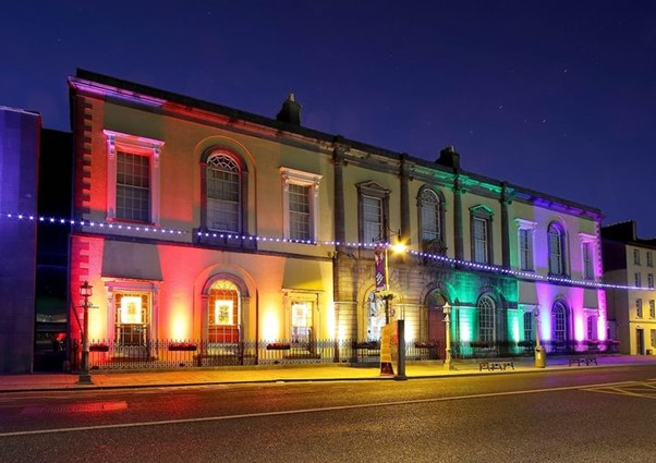 Waterford City Hall lit up in support for Pride month. Photograph courtesy of Noel Browne Photography