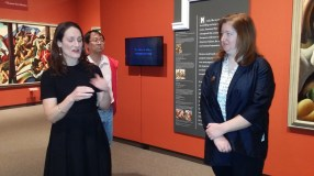Curators of Benton retrospective, Austen Barron Bailly and Maggie Adler