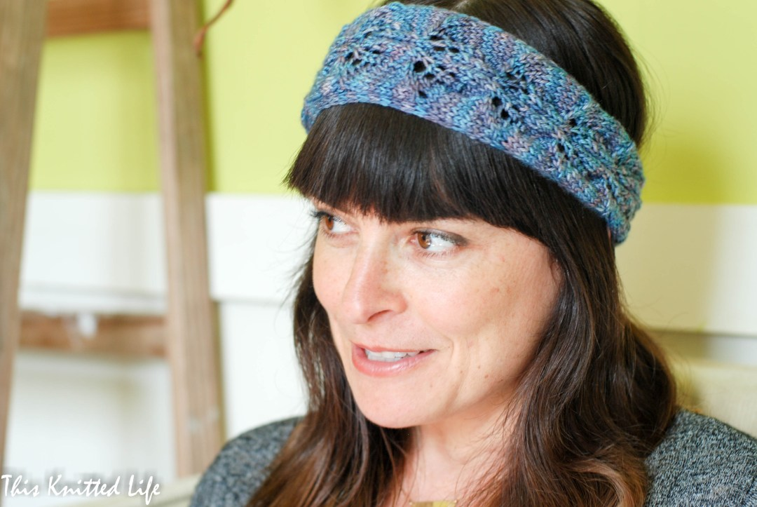 Free scrap yarn hair band pattern (wrap and tie style) available at www.thisknittedlife.com