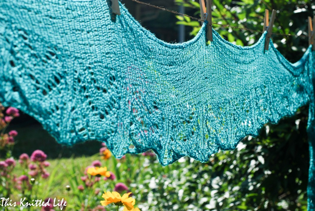Juniper by Jen Lucas. Knit in Nirvana lace.