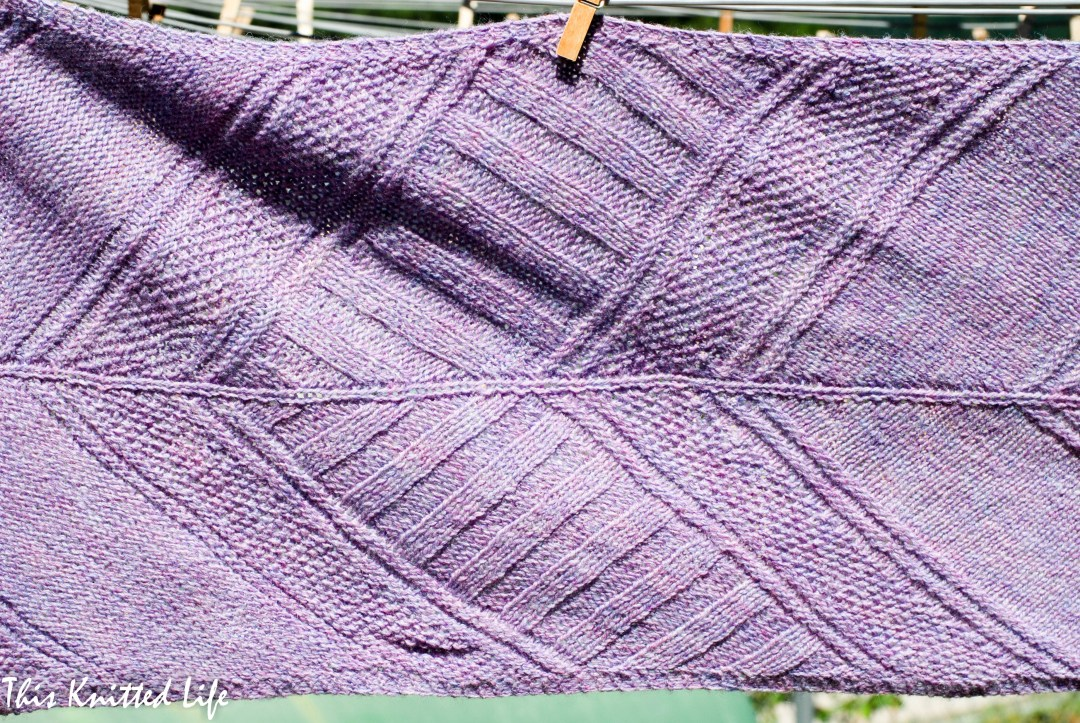 Architexture by Jenifer Weissman. Knit with a very affordable kit from Craftsy in Cloudborn Fibers Highland Fingering, Lavender Heather colorway.