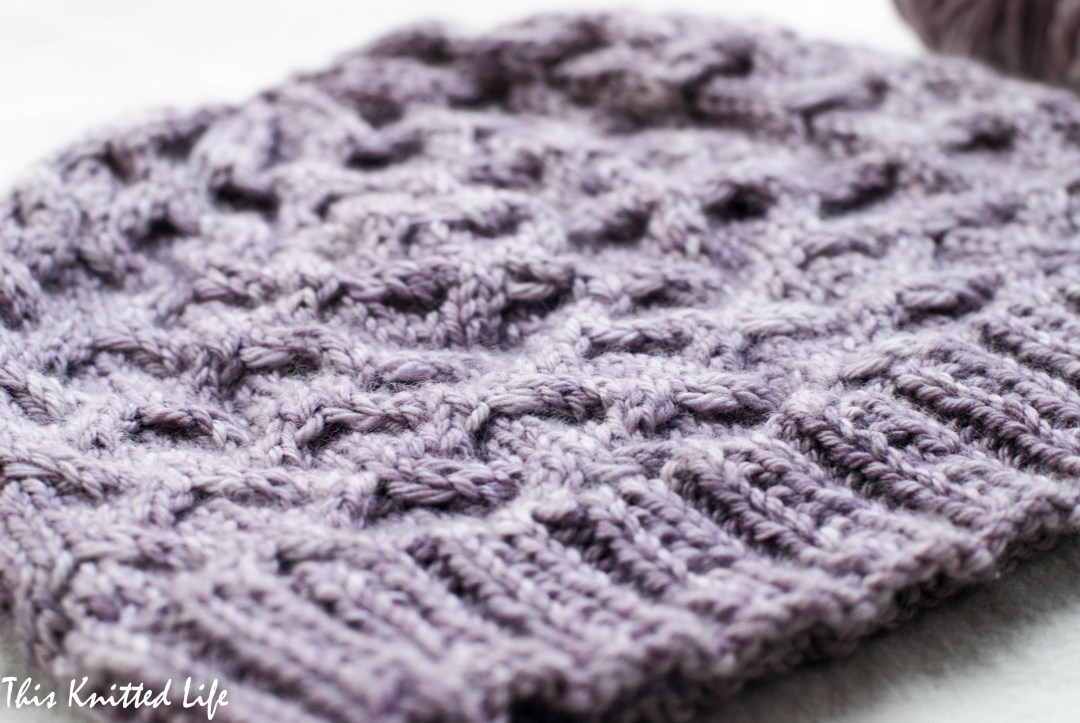 A warm winter hat in Madelinetosh Pashmina Worsted (Sugar Plum colorway)