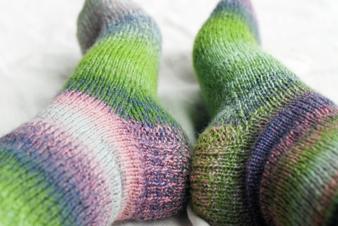 Boring ol' stockinette airplane socks over at This Knitted Life.