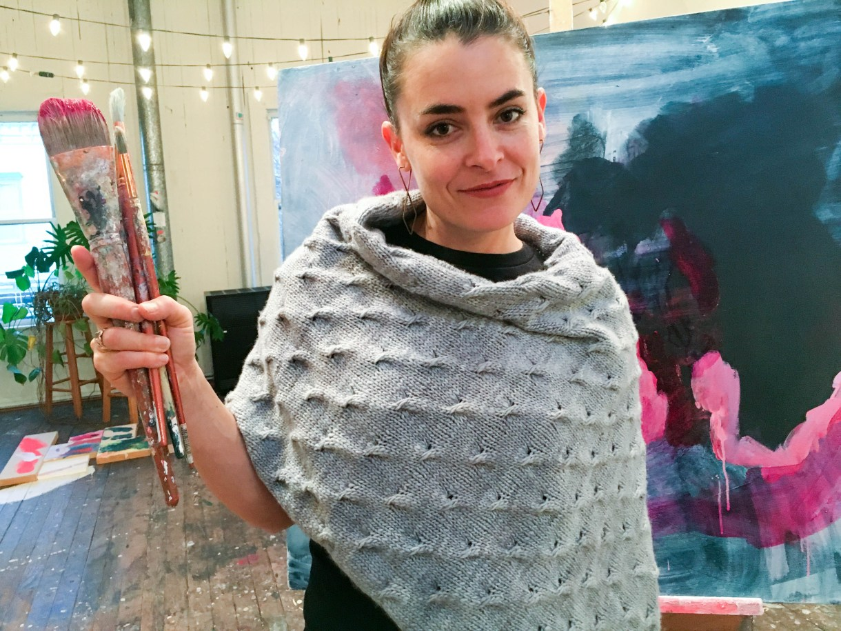 Stormland easy-folded style poncho knitting pattern by Andrea @ This Knitted Life. Knit in Malabrigo Worsted (Polar Moon colorway).