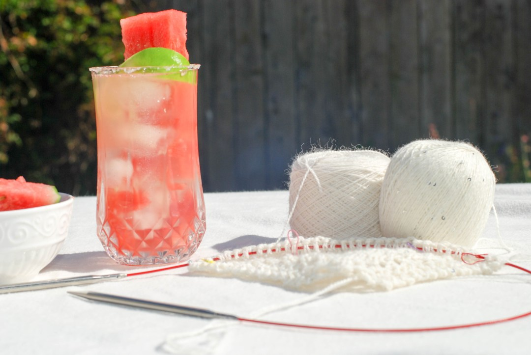 It's cocktail-knit night: watermelon margaritas!
