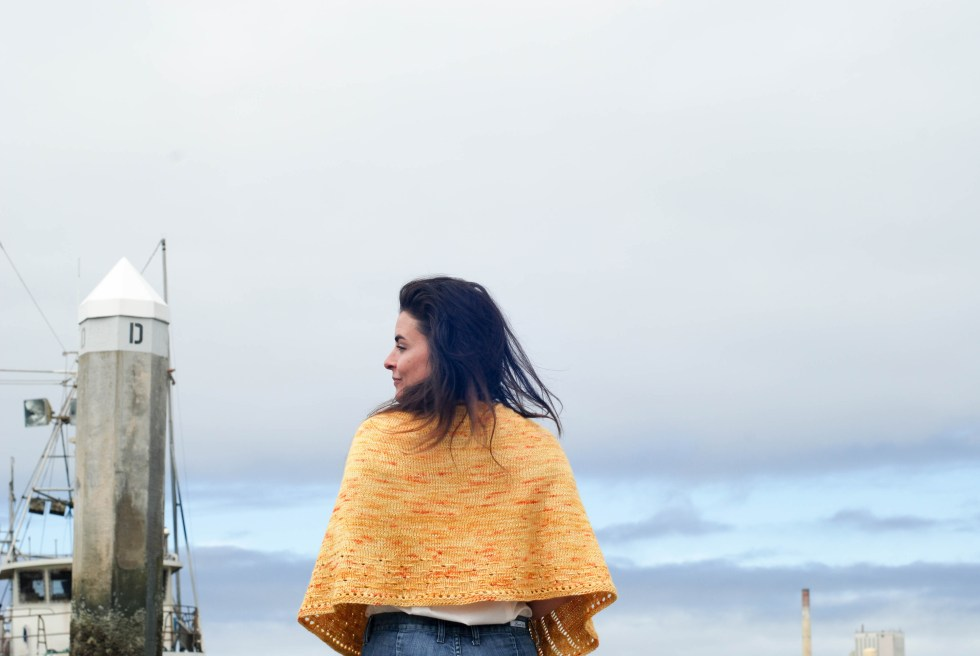 Blast Off to the Sun with this perfect crescent shawl knitting pattern.