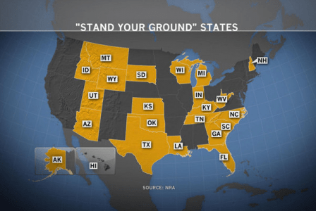 """A map of states with """"stand your ground"""" laws, courtesy the NRA."""