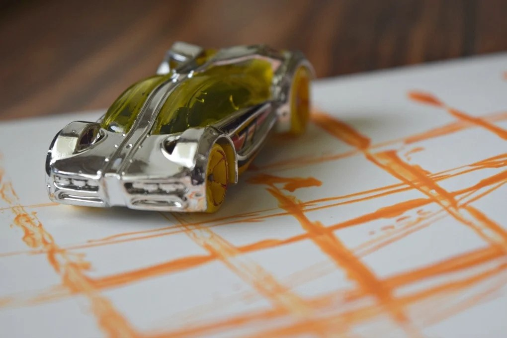 Painting with Hot Wheels Cars by This Little Home of Mine