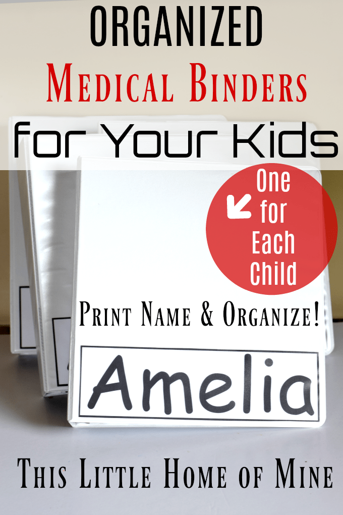 Organized Medical Binders for Your Kids by This Little Home of Mine