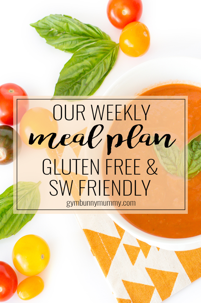 Our weekly meal plan featuring healthy, gluten free & slimming world friendly meals for the family