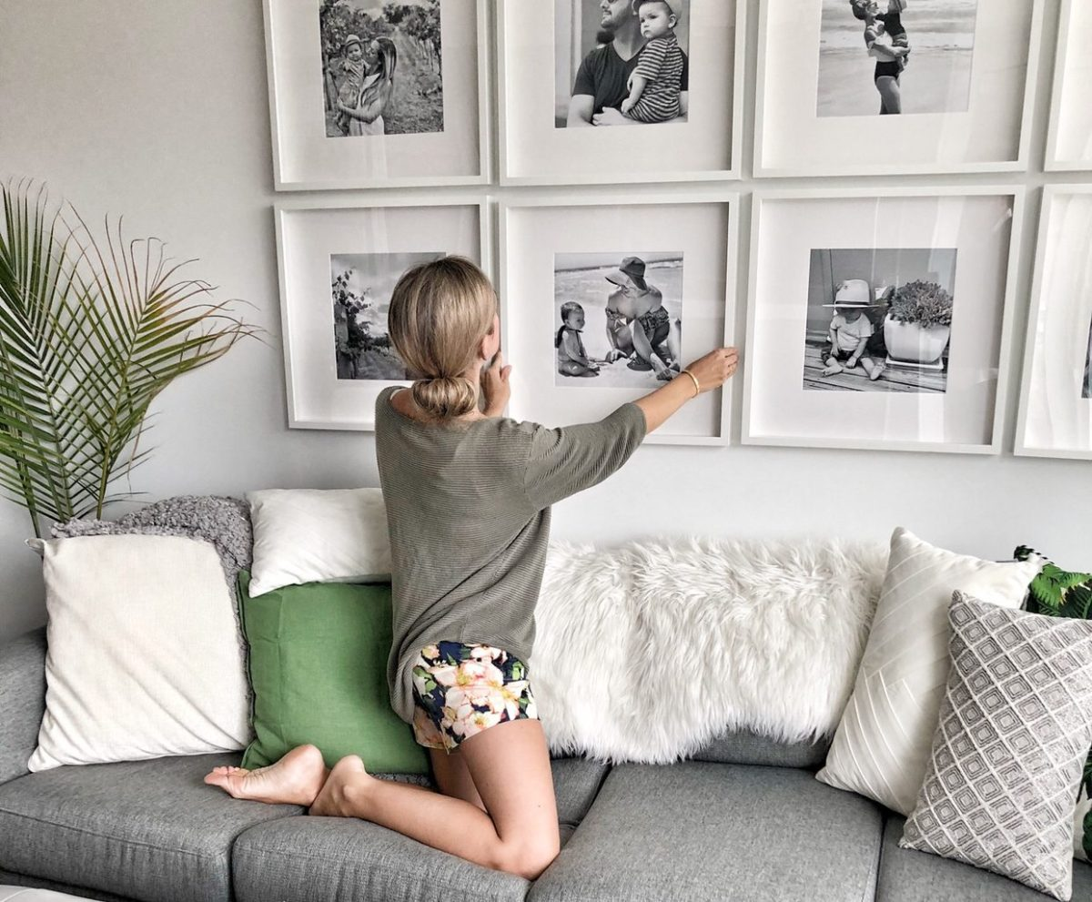 Inexpensive grid gallery wall for family room
