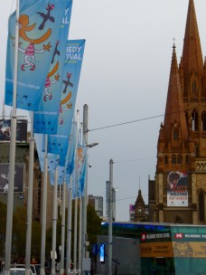 Fed Square flags