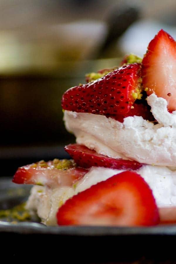 Mini Strawberry Rosewater Pavlovas recipe by @beardandbonnet www.beardandbonnet.com