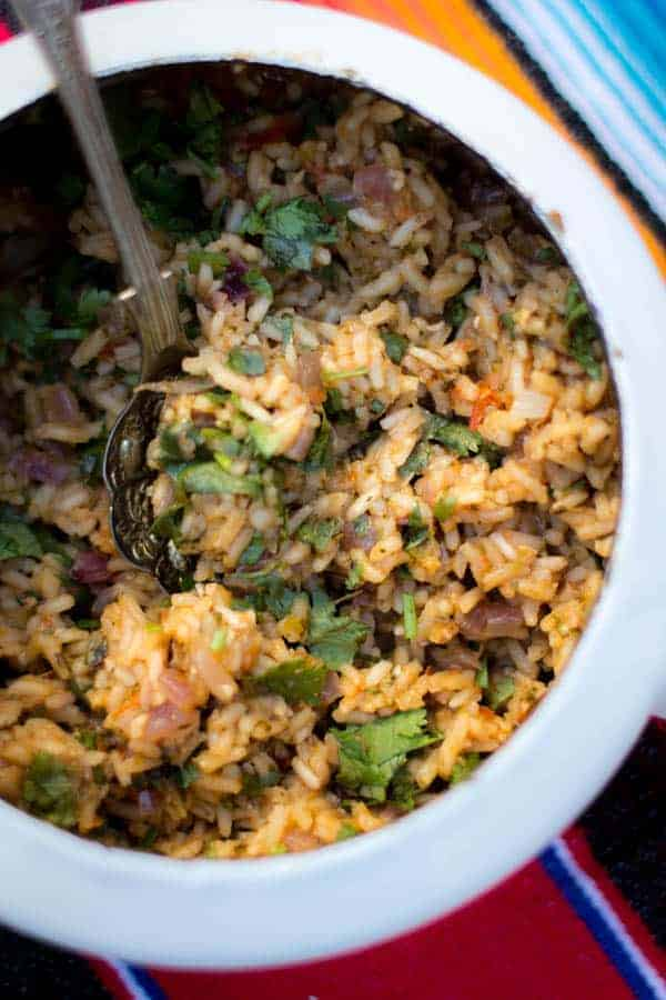 Mexican Red Rice with Roasted Salsa Roja recipe on @beardandbonnet