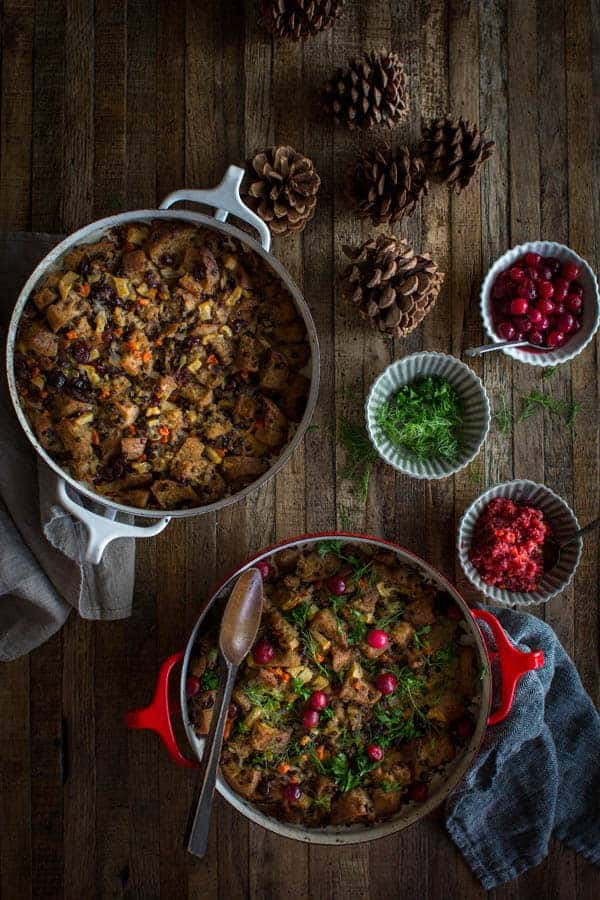 Gluten Free Sourdough Thanksgiving Stuffing recipe | The perfect gluten free and vegetarian stuffing for your holiday gathering this year. | by @beardandbonnet