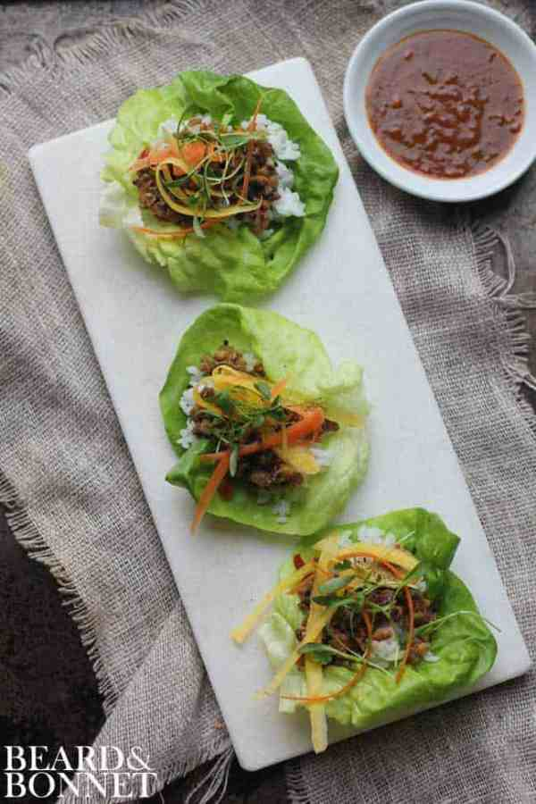 Asian Lettuce Wraps with Homemade Hoisin Sauce    @thismessisours