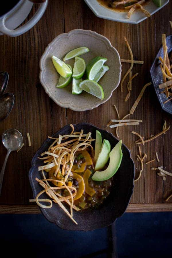 Vegan Autumn Tortilla Soup   @thismessisours