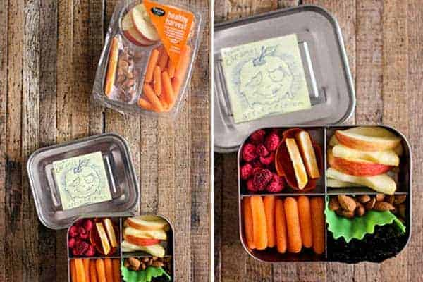 4 Easy Lunch Boxes For Busy Weekdays || Healthy Harvest Snack Tray || @thismessisours #ad @taylorfarms