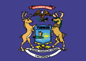 The state flag of Michigan.