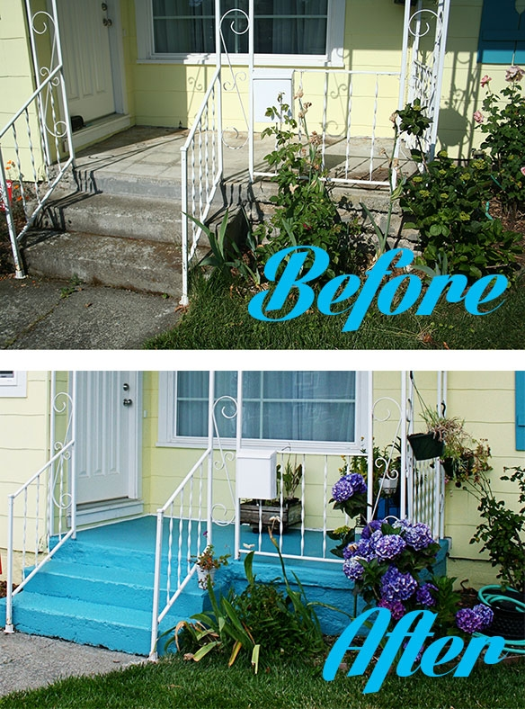 How To Paint A Concrete Patio Thismodernwife | Painting Outside Concrete Steps