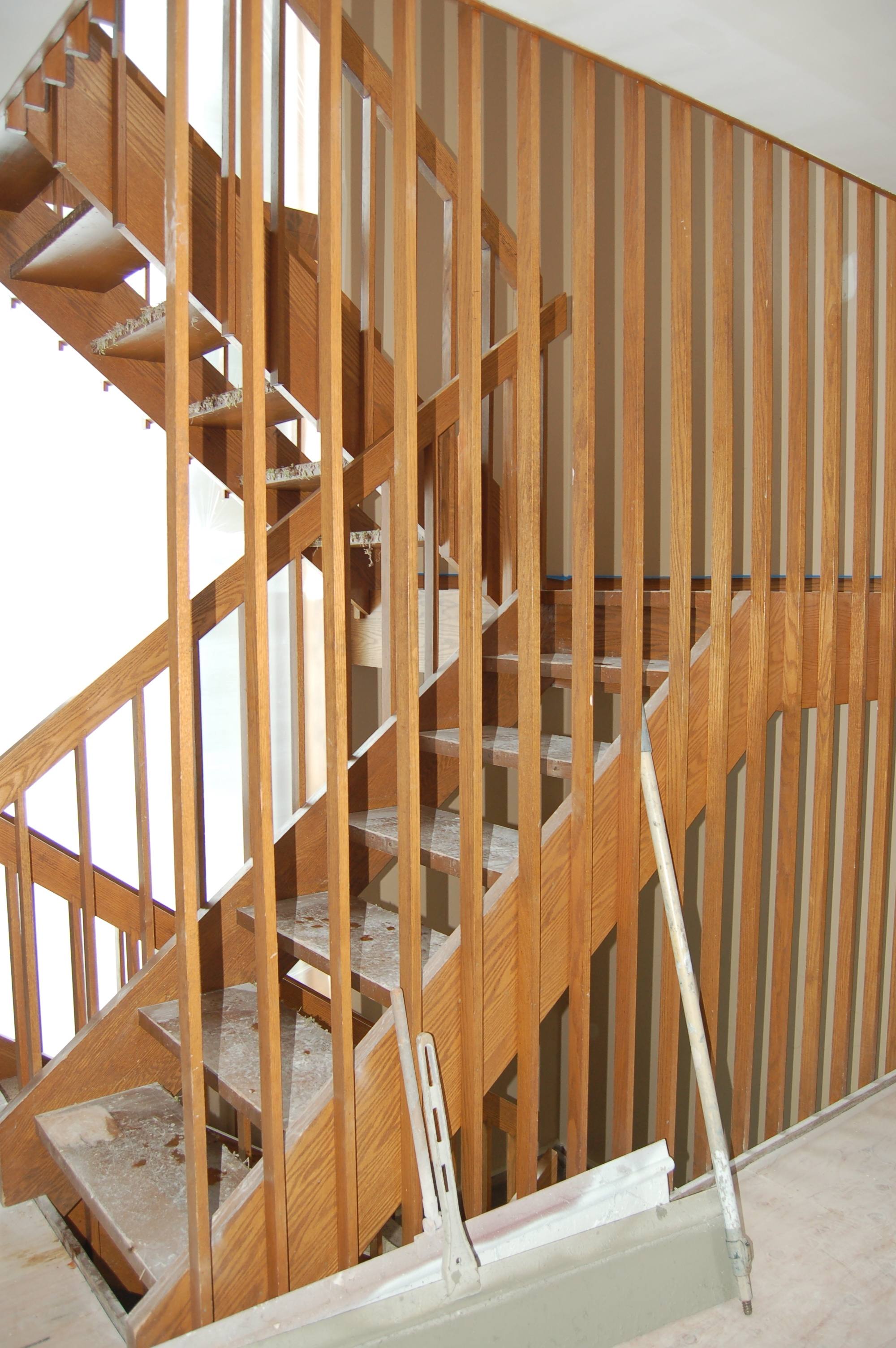 Mid Century Modern Stairs Makeover This Mod House | Mid Century Stair Rail | Basement | Fixer Up | U Shape | Plywood | Hand