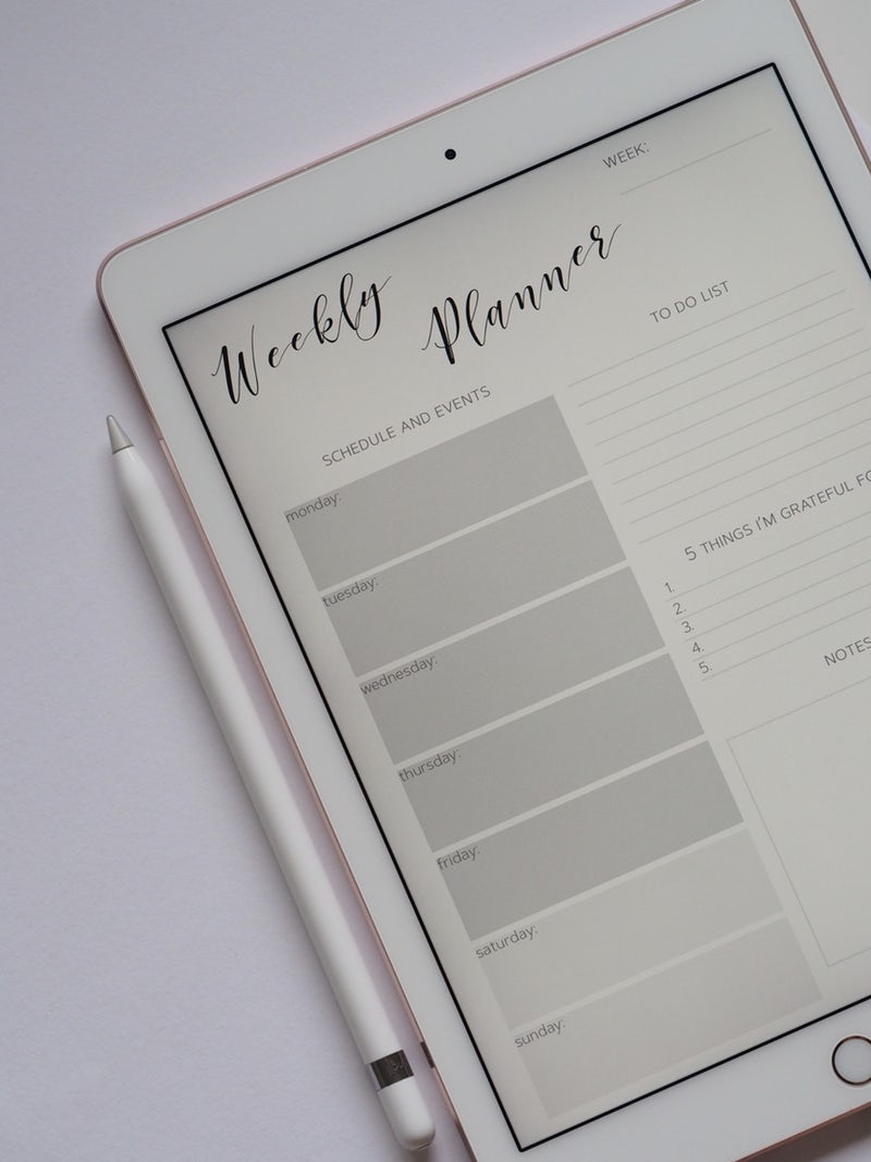 7 Hints And Tips For New Bloggers - What I Have Learnt After 6 Months Of Blogging weekly planner