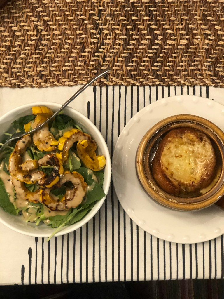 French Onion Soup and a Roasted Squash Salad