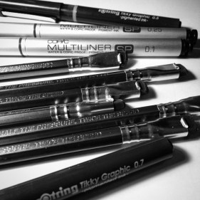 Pens and pencils.