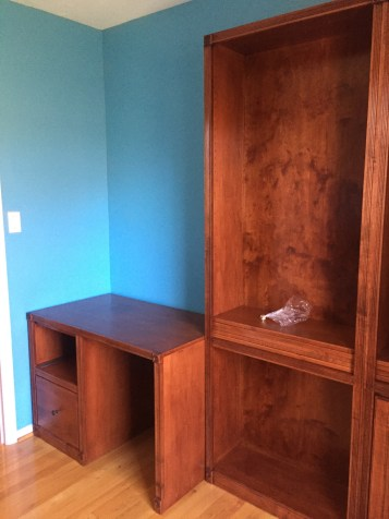 the desk and bookcases