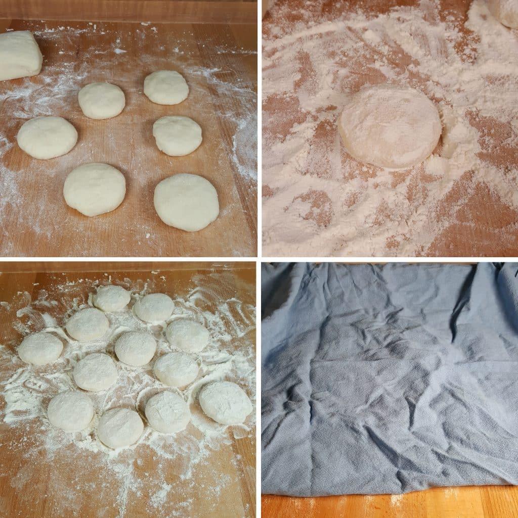 Flatten Dough into Disks and Flour