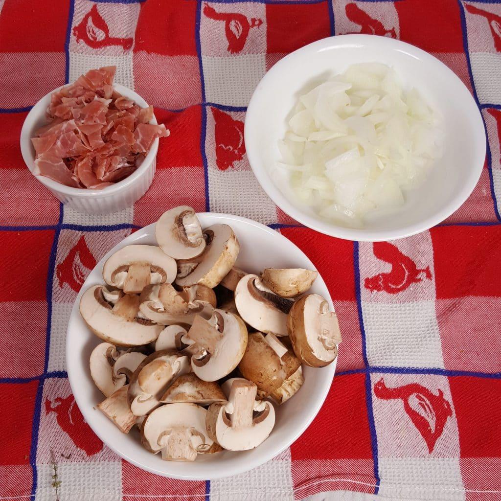 Dice Prosciutto and Onions