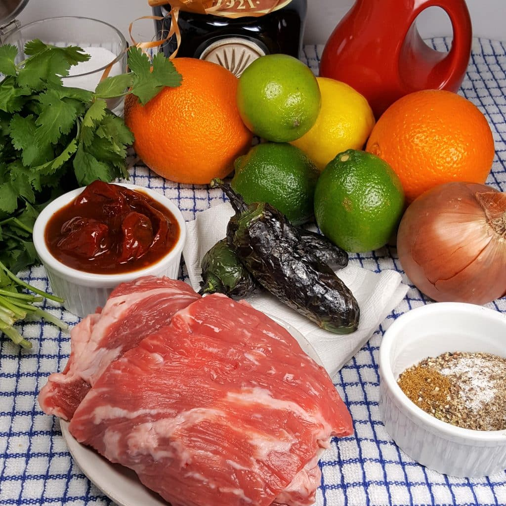 Cast of Ingredients for Air Fryer Carne Asada Recipe