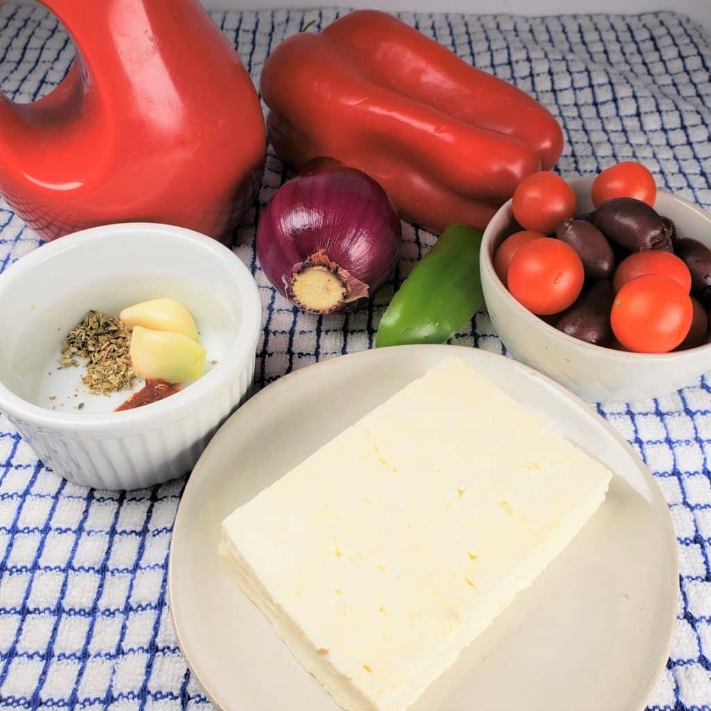 Cast of Ingredients for Air Fryer Feta Psiti