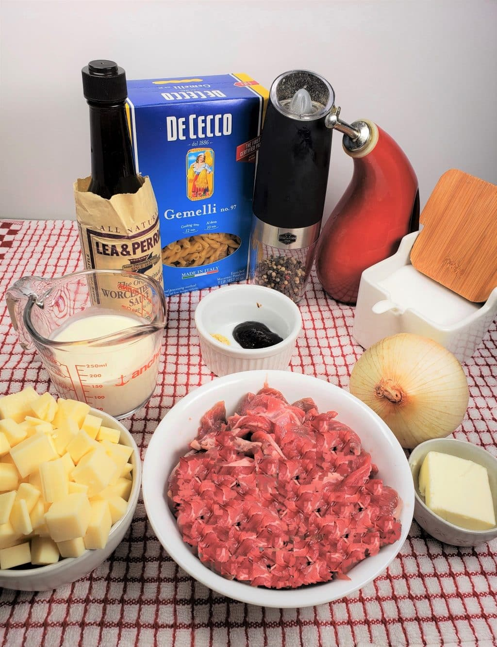 Cast of Ingredients for Instant Pot Philly Cheesesteak Pasta