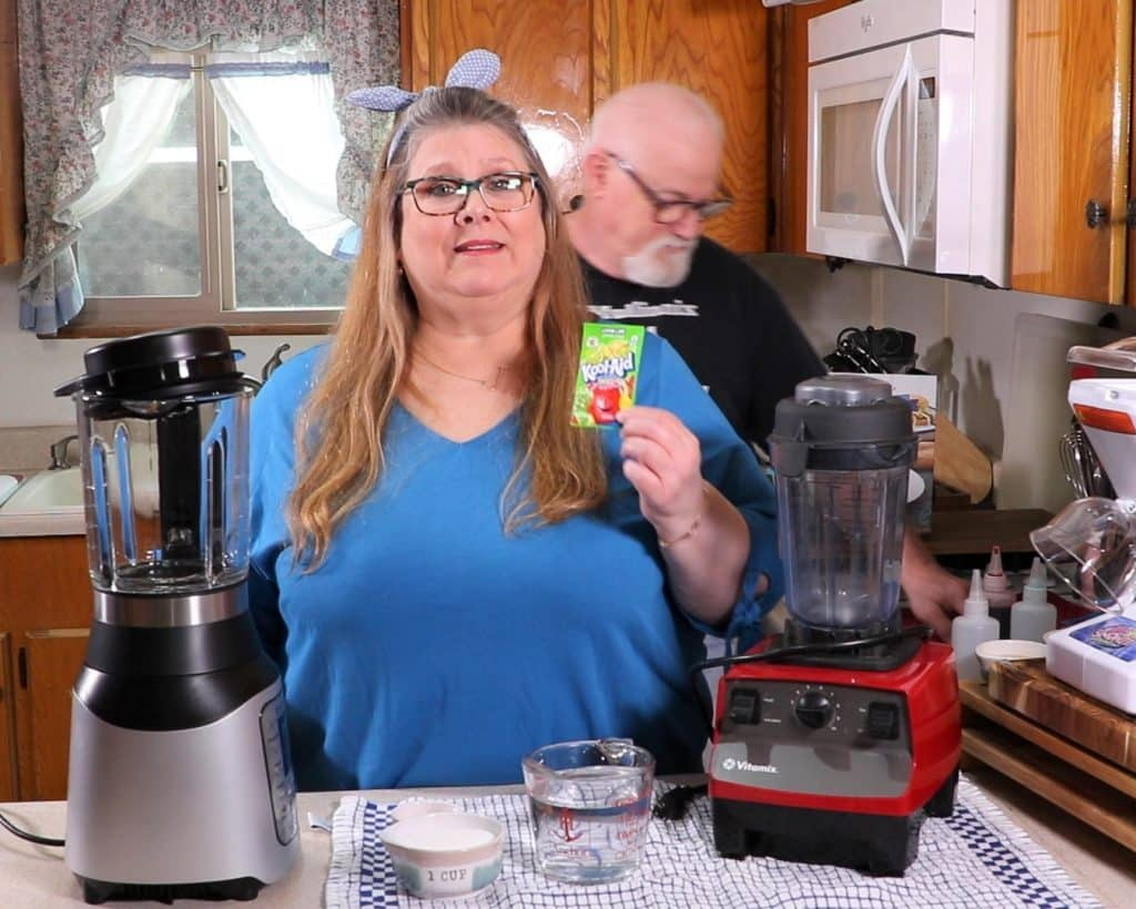 Picture with the Ingredients for Sugar Free Shave Ice Syrup and Instant Pot Ace and Vitamix
