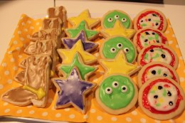 """Western """"Woody"""" boots, Buzz's stars, Alien friends, and Pizza Planet Pizza sugar cookies"""