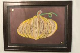 My 7 year old drew this amazing chalk pumpkin