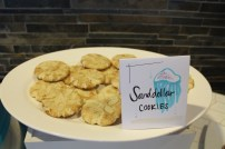 Snickerdoodle cookies with almonds on top make perfect sand dollars