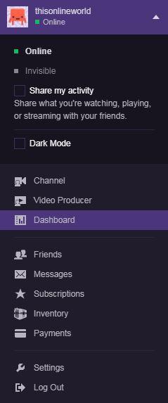 Twitch TV dashboard