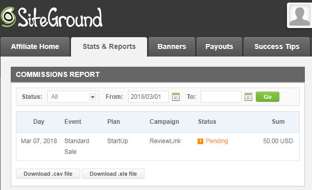 SiteGround Affiliate Earnings