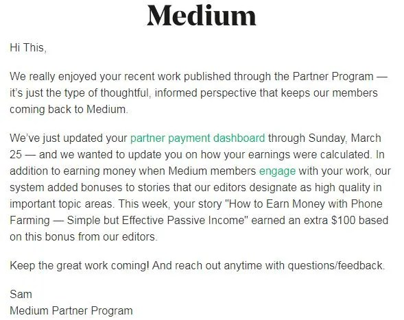 Medium now pays bonuses!
