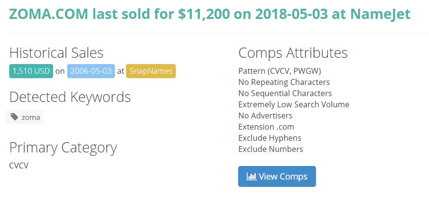 zoma domain name sale