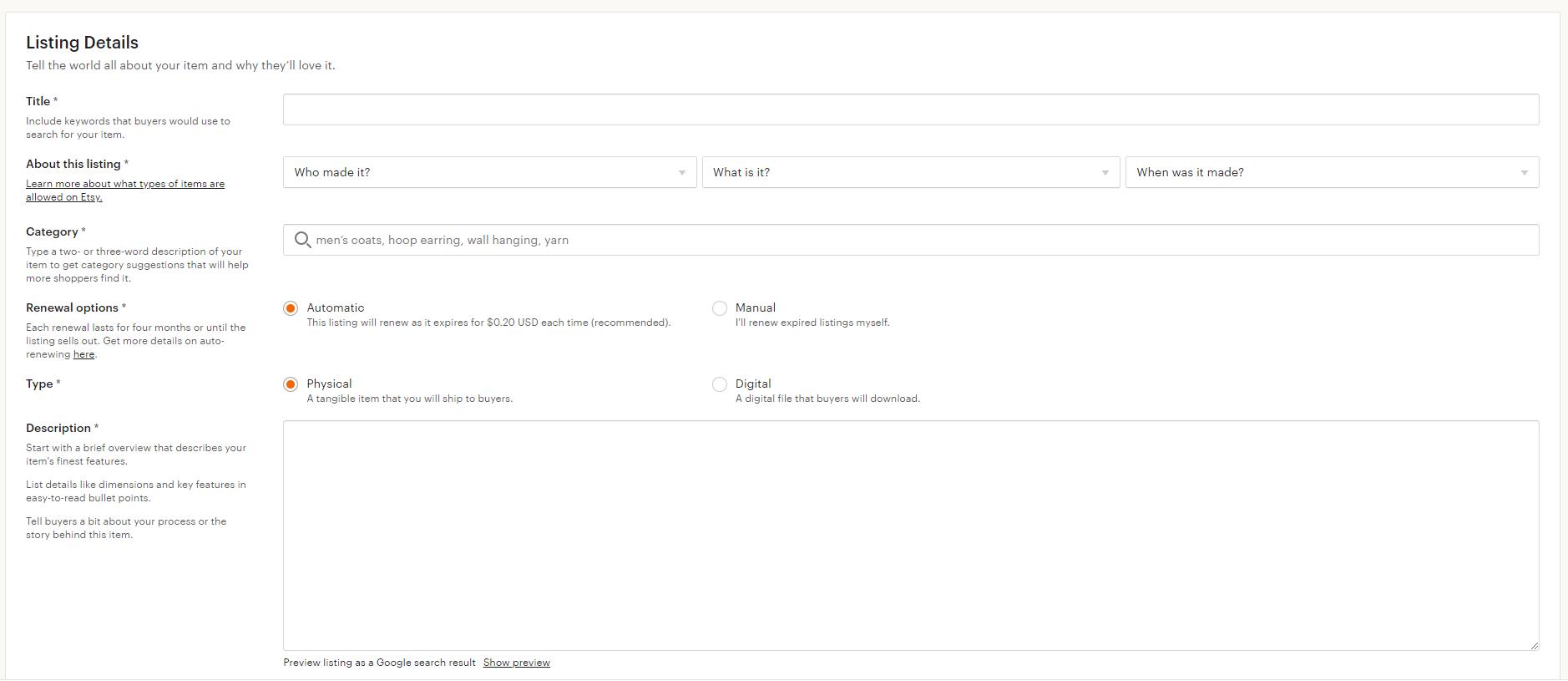 Etsy-listing-information