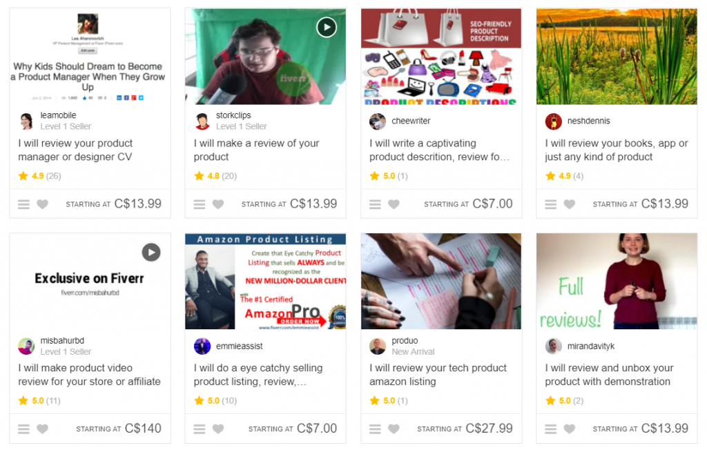 fiverr write reviews for money