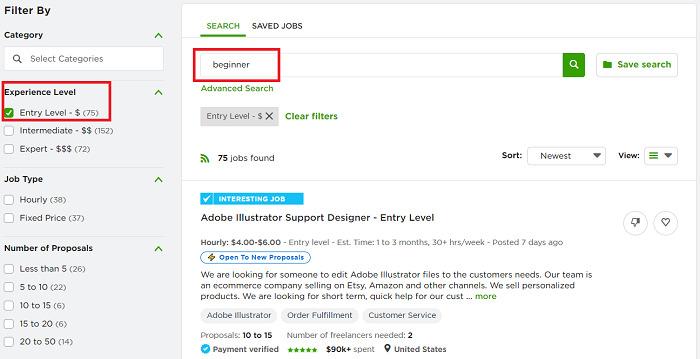 beginner-Upwork-job-search-filters