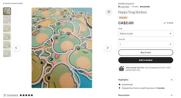 Etsy-frog-sticker
